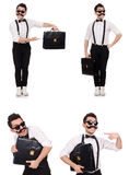 The young man with briefcase isolated on white Stock Image