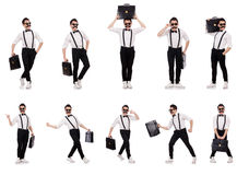 The young man with briefcase isolated on white Royalty Free Stock Images