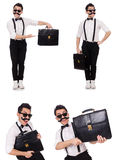 The young man with briefcase isolated on white Royalty Free Stock Photo