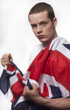 Young man with British flag Stock Photos