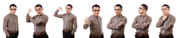 The young man in brown shirt isolated on white Stock Photos