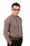 Young man in brown shirt on white Royalty Free Stock Images