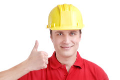 Young man builder Stock Image
