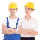 Young man builder and business woman architect in helmet isolate Royalty Free Stock Photography