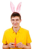 Young Man with Bunny Ears Stock Images