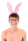 Young Man in Bunny Ears Stock Photography