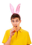Young Man with Bunny Ears Stock Photo