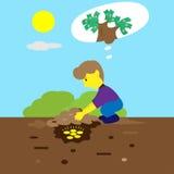 Young Man Burying Money Coins Cartoon Stock Photography