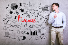 Young man with business doodle stock images