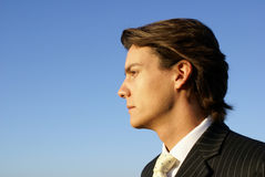 Young Man in Business Suit. Young Male in a suit and tie looks to the horizon Royalty Free Stock Images