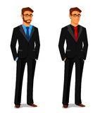 Young man in business suit vector illustration