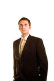 Young Man in Business Suit Hands in Pockets Stock Image