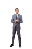 Young man in a business suit wearing glasses Royalty Free Stock Photo