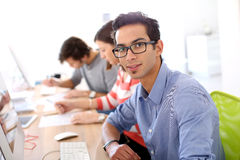 Young man in business training class Royalty Free Stock Images