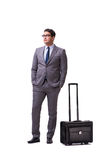 The young man during business travel isolated on white Stock Photo