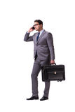 The young man during business travel isolated on white Stock Photography