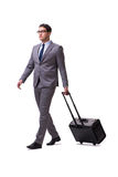 The young man during business travel isolated on white Royalty Free Stock Photos