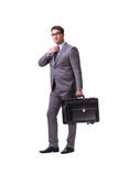 The young man during business travel isolated on white Stock Image