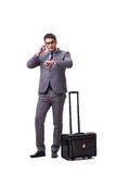 The young man during business travel isolated on white Royalty Free Stock Photography