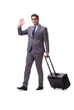 The young man during business travel isolated on white Royalty Free Stock Images