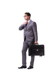 The young man during business travel isolated on white Royalty Free Stock Photo