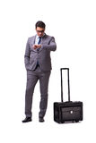 The young man during business travel isolated on white Royalty Free Stock Image