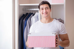 The young man businessman getting dressed for work Royalty Free Stock Photo