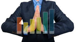 Young Man Businessman praying and Wishing Hard. Stock Image