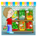 Young man buying produce. Colorful illustration of a smiling young man shopping with a basket of produce in one hand, and a single onion in the other Royalty Free Stock Photography
