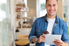 Young man in cafe Stock Photography