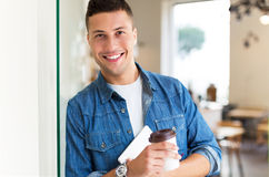 Young man in cafe Stock Image