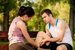 Young man with calf Injury Stock Photography