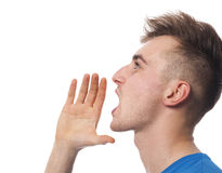 Young man calling someone Royalty Free Stock Photos