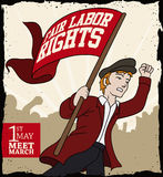 Young Man Calling to March in Workers' Day, Vector Illustration Stock Photography