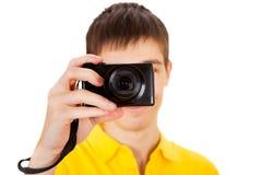 Young Man with a Camera Stock Photos