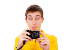Young Man with a Camera Royalty Free Stock Photography