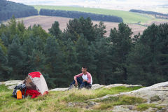Young Man On Camping Trip In Countryside Royalty Free Stock Photography