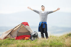 Young Man On Camping Trip In Countryside Royalty Free Stock Image
