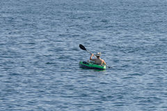 Young man canoeing in the sea Stock Photo