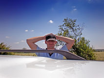 Young man with car Stock Photo