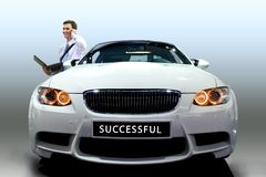 Young man by car Stock Photos