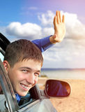 Young Man in a Car Royalty Free Stock Photography
