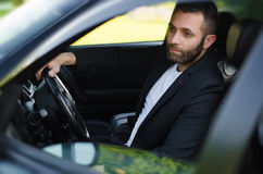 Young man in  car Royalty Free Stock Photography