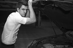 Young man car mechanician Stock Images