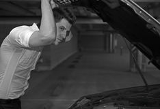 Young man car mechanician Royalty Free Stock Photo