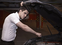 Young man car mechanician Stock Photography