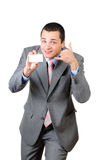 Young man and a card Stock Images