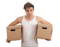 Young man with cardboard box Royalty Free Stock Photos