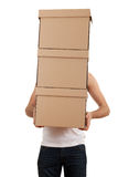 Young man with cardboard box Royalty Free Stock Photography