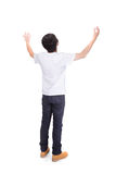 Young man carefree outstretched arms. Isolated on white background, healthy lifestyle concept, asian people Stock Photography
